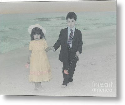 Metal Print featuring the photograph A Stroll On The Beach by Lori Mellen-Pagliaro