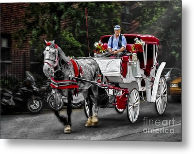 A Stroll Thru The City Metal Print by Susan Candelario