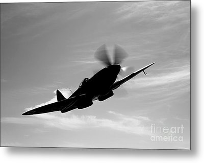A Supermarine Spitfire Mk-18 In Flight Metal Print by Scott Germain