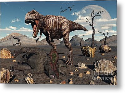 A T. Rex Is About To Make A Meal Metal Print by Mark Stevenson