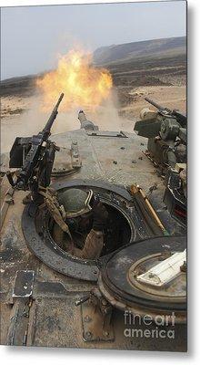 A Tank Crewman Braces Himself Metal Print by Stocktrek Images