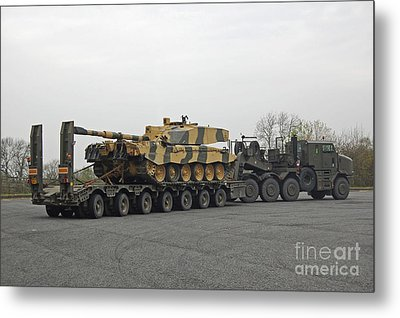 A Tank Transporter Hauling A Challenger Metal Print by Andrew Chittock