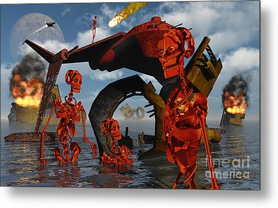 A Team Of Androids Break Down Objects Metal Print by Mark Stevenson