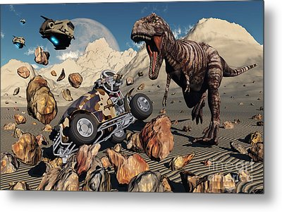 A Team Of Time Travelling Explorers Try Metal Print by Mark Stevenson