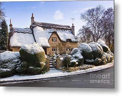 A Thatched Cottage In The Cotswolds  Metal Print by Andrew  Michael