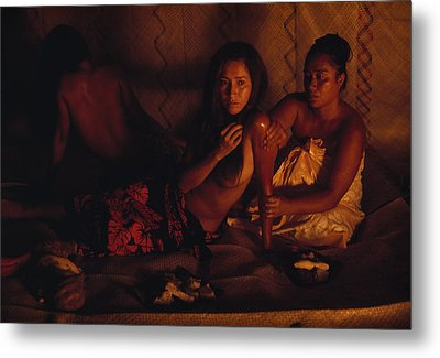A Topless Tahitian Dancer Is Annointed Metal Print by Gordon Gahan