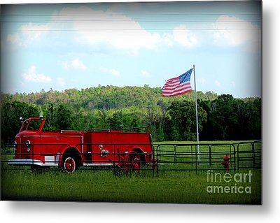 Metal Print featuring the photograph A Tribute To The Fireman by Kathy  White