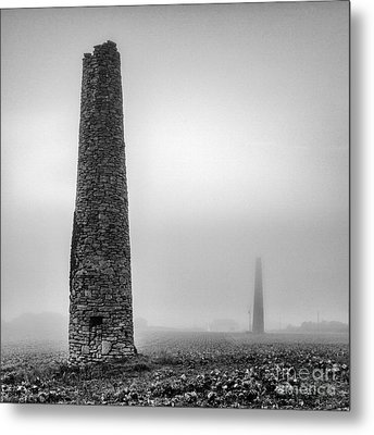 A Twin Cornish Mine Chimneys Metal Print by John Farnan