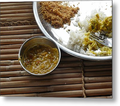 A Typical Plate Of Indian Rajasthani Food On A Bamboo Table Metal Print by Ashish Agarwal