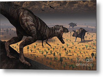 A Tyrannosaurus Rex Spots Two Passing Metal Print by Mark Stevenson