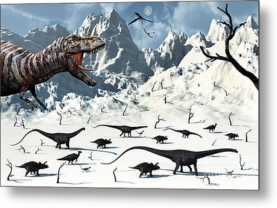 A  Tyrannosaurus Rex Stalks A Mixed Metal Print by Mark Stevenson