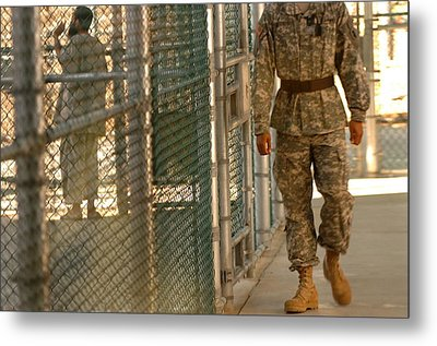 A U.s. Army Soldier Stands Guard Metal Print by Everett