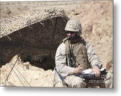 A U.s. Marine Communicates With Close Metal Print by Stocktrek Images