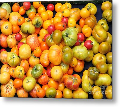 A Variety Of Fresh Tomatoes - 5d17904 Metal Print by Wingsdomain Art and Photography
