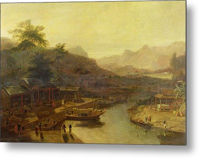 A View In China - Cultivating The Tea Plant Metal Print by William Daniell