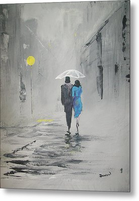 A Walk In The Rain Metal Print by Raymond Doward