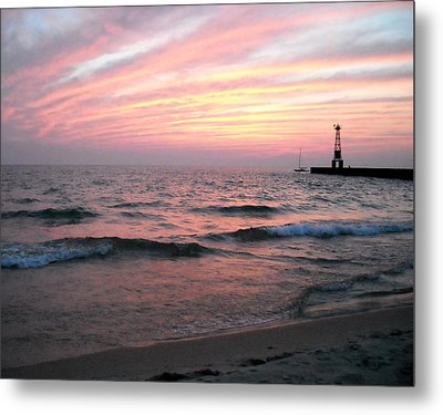 A Walk On Pentwater Beach Metal Print by Penny Hunt
