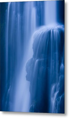 A Waterfall Splashes Off Of A Large Metal Print by Ralph Lee Hopkins