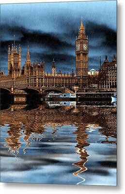 A Wet Day In London Metal Print by Sharon Lisa Clarke