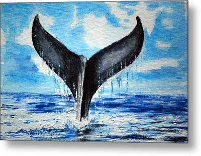 Metal Print featuring the painting A Whales Tail by Lynn Hughes