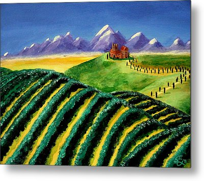 A Winery In Tuscany Metal Print by Spencer Hudon II