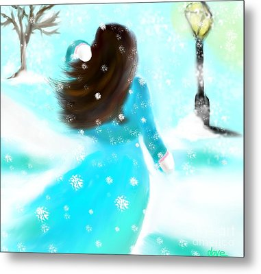 Metal Print featuring the painting A Winter Day by Lori  Lovetere