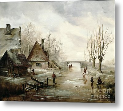 A Winter Landscape With Figures Skating Metal Print by Dutch School