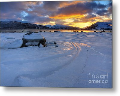 A Winter Sunset Over Tjeldsundet Metal Print