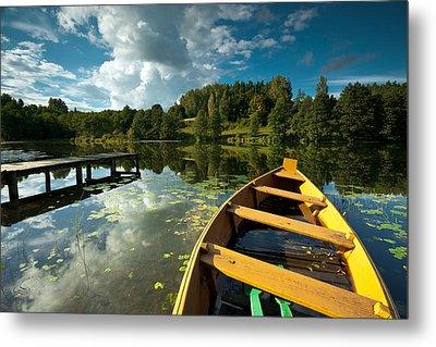 A Wooden Boat On A Lake In Suwalki Lake District Metal Print by Slawek Staszczuk