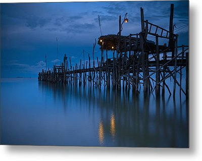 A Wooden Pier With Lights On It At Metal Print by David DuChemin