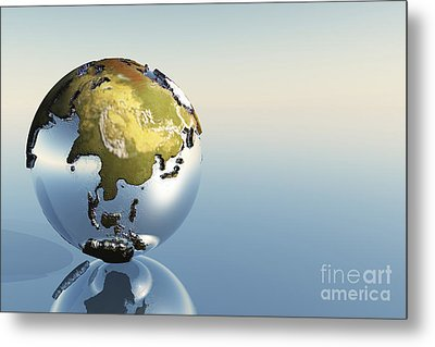 A World Globe Showing The Continents Metal Print by Corey Ford