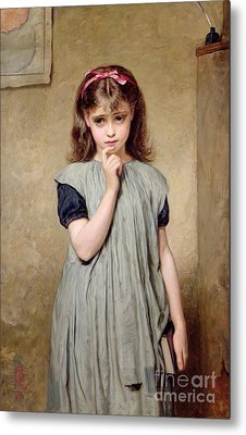 A Young Girl In The Classroom Metal Print by Charles Sillem Lidderdale