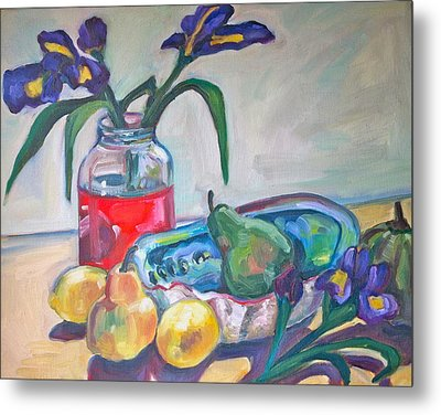 Abalone Shell Fruit And Flowers Metal Print by Michelle Grove