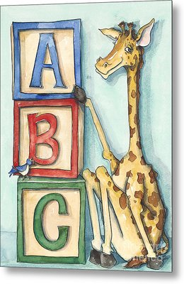 Abc Blocks - Giraffe Metal Print by Annie Laurie