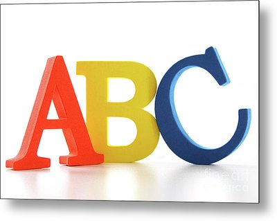 Abc Letters On White  Metal Print by Sandra Cunningham