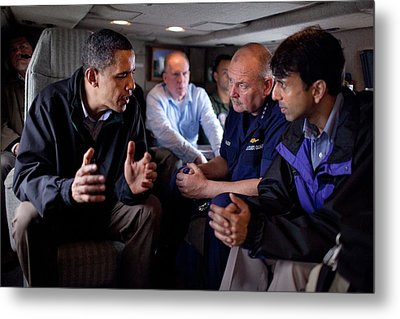 Aboard Marine One President Obama Meets Metal Print by Everett