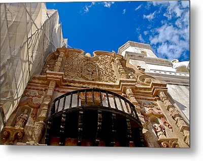 Above The Front Entry San Xavier Mission Metal Print by Jon Berghoff