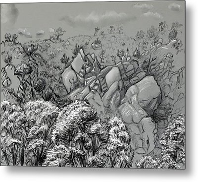 Above The Treetops Field Sketch Metal Print by Dawn Senior-Trask