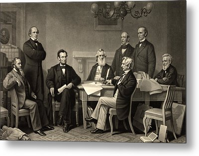 Metal Print featuring the photograph Abraham Lincoln At The First Reading Of The Emancipation Proclamation - July 22 1862 by International  Images