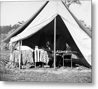 Metal Print featuring the photograph Abraham Lincoln Meeting With General Mcclellan - Antietam - October 3 1862 by International  Images