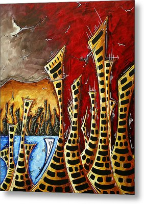 Abstract Art Contemporary Coastal Cityscape 3 Of 3 Capturing The Heart Of The City II By Madart Metal Print