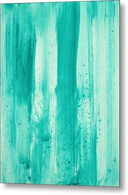 Abstract Art Original Decorative Painting Aqua Passion By Madart Metal Print by Megan Duncanson