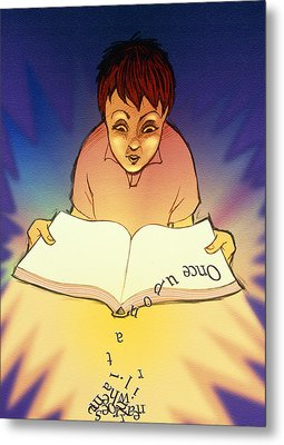Abstract Artwork Of A Dyslexic Boy Reading A Book Metal Print by David Gifford