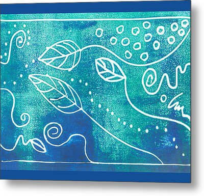 Abstract Block Print In Blue Metal Print by Ann Powell