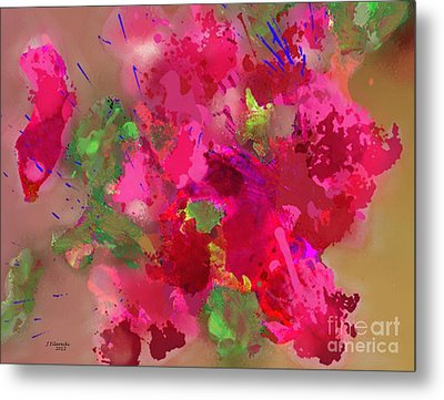 Abstract Bougainvillea Painting Floral Wall Art Metal Print by Judy Filarecki