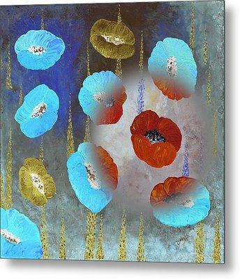 Abstract Colorful Poppies Metal Print by Georgeta  Blanaru