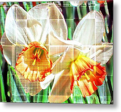 Abstract Daffodils  Metal Print by Cathie Tyler