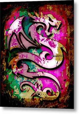 Abstract Dragon Metal Print by David G Paul