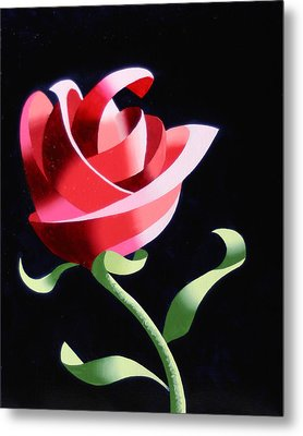 Metal Print featuring the painting Abstract Geometric Cubist Rose Oil Painting 1 by Mark Webster