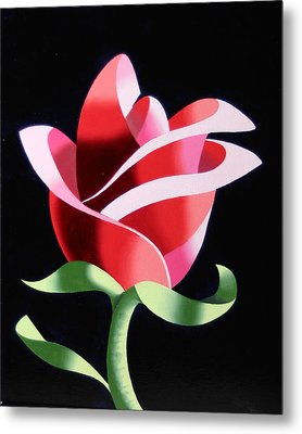 Abstract Geometric Cubist Rose Oil Painting 2 Metal Print by Mark Webster